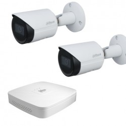 Dahua set 4-kanaals IP DVR + 2 x IP bullet camera IP67
